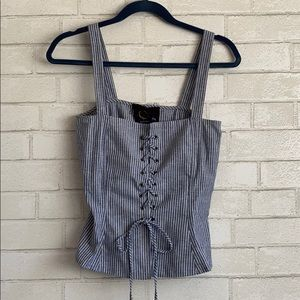 Blue Life Striped Bustier Lace Up Top